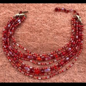 Gorgeous Blood Red GLASS BEAD Germany Necklace!